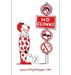 KITTY FLANAGAN – NO CLOWNS TEATOWEL